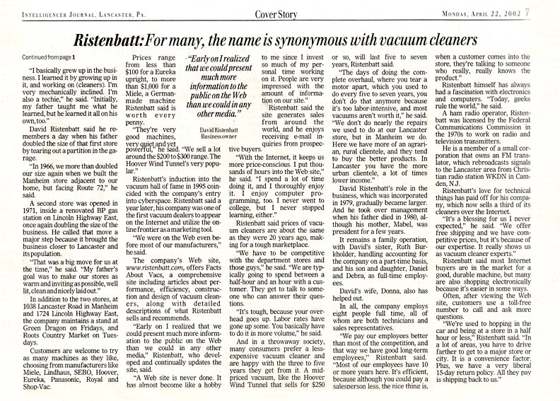 Lancaster Newspaper Article Inside Page